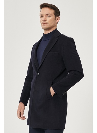 Beymen Business Standart Fit Düz Palto 4B0521100010 Lacivert